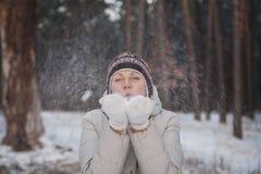 Het meisje van Kerstmis De Blazende Sneeuw van de vrouw van de winter Stock Afbeeldingen
