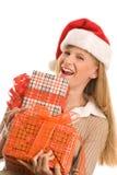 Het meisje van Kerstmis met giften royalty-vrije stock afbeelding