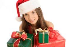 Het meisje van Kerstmis met giften royalty-vrije stock afbeeldingen