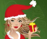 Het meisje van Kerstmis met heden Royalty-vrije Stock Afbeelding