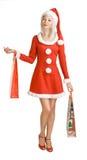 Het meisje van Kerstmis met zak Royalty-vrije Stock Afbeeldingen