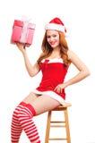 Het meisje van Kerstmis pinup Stock Foto