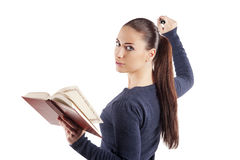 Het meisje van Nice met boek stock foto