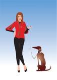 Het meisje van Nice met hond Royalty-vrije Stock Afbeelding