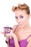 Het meisje van Pinup met parfum Stock Afbeelding