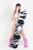 Het meisje van Snowboard Stock Foto