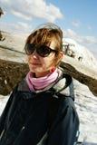 Het meisje van Snowboarder Stock Afbeeldingen