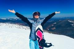 Het meisje van Snowboarder Stock Foto's