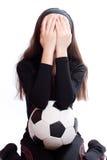 Het meisje van sporten met een voetbal Stock Foto's