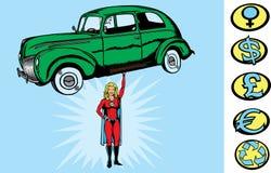 Het meisje van Supercar Stock Foto