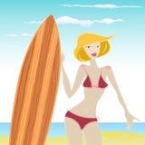 Het meisje van Surfer Stock Afbeelding