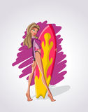Het meisje van Surfer Royalty-vrije Stock Foto's