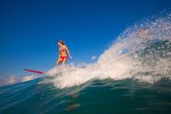Het meisje van Surfer in een bikini berijdt de golf stock fotografie