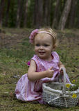 Het meisje verzamelt bloemen in het bos Stock Foto