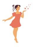 Het meisje verzendt een lucht-kus Royalty-vrije Stock Foto