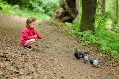 Het meisje voedt stedelijke duivenduiven in het park Royalty-vrije Stock Foto