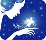 Het meisje, vogel, nacht. royalty-vrije illustratie