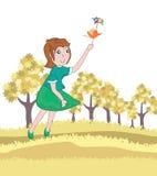 Het meisje volgt de Vogel Flying_eps Royalty-vrije Stock Foto's