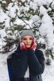 Het meisje warmes haar wangen in handschoenen bij de koude winter in p royalty-vrije stock foto