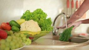 Het meisje wast druiven Groenten op de keukenlijst Handen die mes houden Tomaten en kool stock videobeelden