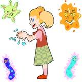 Het meisje wast Handen Stock Fotografie