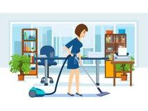 Het meisje, werknemers van het bureau, maakt het kabinet schoon vector illustratie