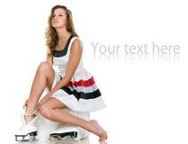 Het meisje zet op de vleten Stock Fotografie