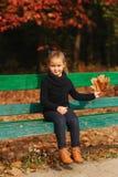 Het meisje zit op de bank en bekijkt de bladeren Zij verzamelt bladeren en neemt hen met haar Herfst bos royalty-vrije stock afbeeldingen