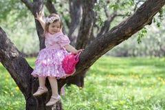Het meisje zit op de boom Stock Foto