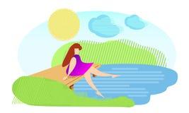 Het meisje zit op de brug dichtbij de rivier royalty-vrije illustratie