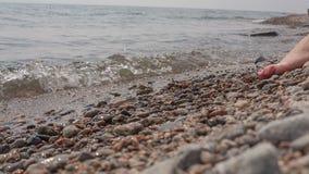 Het meisje zit op de kust van Baikal stock videobeelden