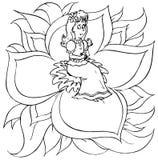 Het meisje zit op een bloem (âThumbeli Stock Afbeelding