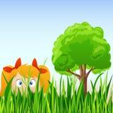 Het meisjehuid van het beeldverhaal in gras vector illustratie