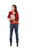 Het meisjes volledige lengte van de tiener die op wit wordt geïsoleerdr Stock Foto