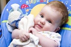 Het meisjes wth teddybeer van de baby Stock Foto's