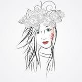 Het meisjesgezicht van de schoonheid De elementen van het ontwerp royalty-vrije illustratie