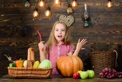 Het meisjesjonge geitje bij landbouwbedrijfmarkt met het Kindmeisje van de dalingsoogst viert het oogsten Jong geitjelandbouwer m royalty-vrije stock afbeeldingen