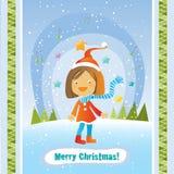 Het meisjeskaart van Kerstmis Royalty-vrije Stock Foto