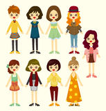 Het meisjespictogram van het beeldverhaal Royalty-vrije Stock Afbeelding