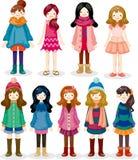 Het meisjespictogram van het beeldverhaal Stock Foto's