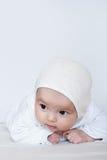 Het meisjesportret van de baby op wit royalty-vrije stock afbeelding