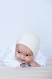 Het meisjesportret van de baby op wit stock afbeeldingen