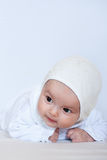 Het meisjesportret van de baby op wit royalty-vrije stock fotografie