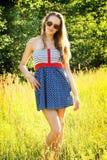 Het meisjesportret van de zomer Stock Foto