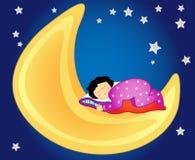 Het meisjesslaap van de baby op de maan Royalty-vrije Stock Foto