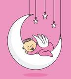 Het meisjesslaap van de baby op de maan Stock Fotografie