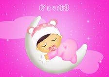 Het meisjesslaap van de baby op de maan Royalty-vrije Stock Afbeelding
