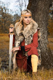 Het meisjesstrijder van Viking Royalty-vrije Stock Afbeelding