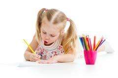 De potloden van de het meisjestekening van het jonge geitje Stock Afbeeldingen
