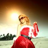Het meisjesvakantie van de kerstman Stock Foto